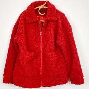 RD Style | Oversized Red Faux Sherpa Moto Jacket